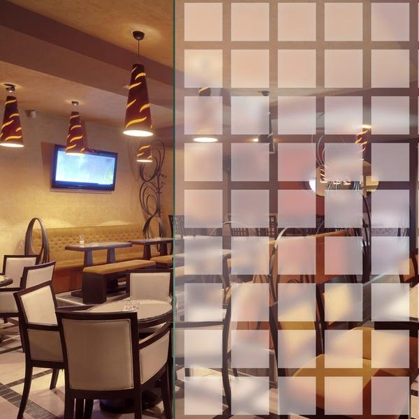 Folia dekoracyjna o wzorze białych, matowych kwadratów  – 44 x 44mm